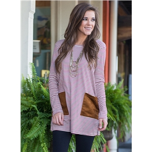 Casual Stripe Loose Fit Longline Tee