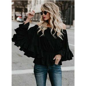 Off Shoulder Flare Sleeve Pearls Loose Blouse