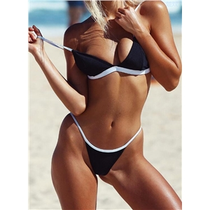 2 Piece Color Block Triangle Bikini Set
