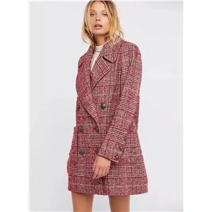 Fashion Double Breasted Plaid Coat