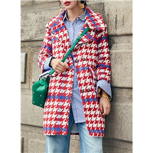 Turn Down Collar Long Sleeve Plaid Thicken Coat