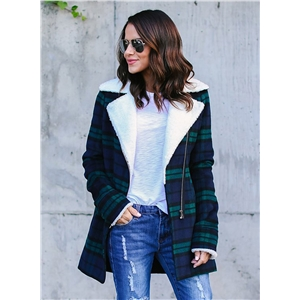 Fashion Long Sleeve Plaid Zip Coat