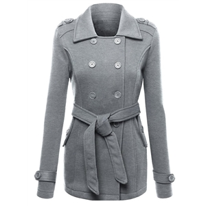 Turn Down Collar Long Sleeve Double Breasted Coat
