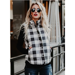 Stand Collar Button Down Cotton Padded Plaid Vest
