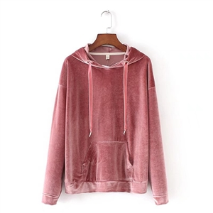 Kangaroo Pocket Long Sleeve Drawstring Oversized Velvet Hoodie