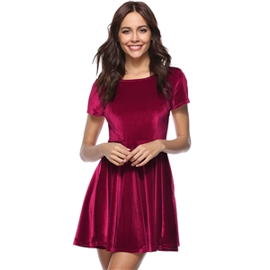 Fashion Short Sleeve A-line Velvet Dress