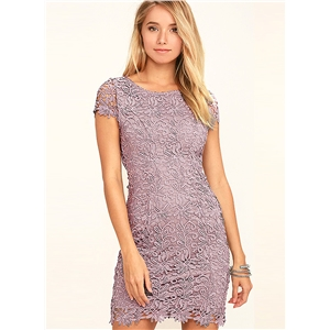 Fashion Short Sleeve Backless Lace Bodycon Dress