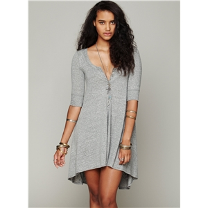 Fashion 3/4 Sleeve High Low Loose Dress