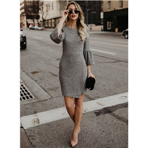Fashion 3/4 Flare Sleeve Bodycon Dress