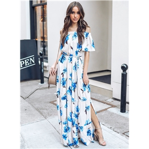 Off Shoulder Short Sleeve Floral Slit Maxi Dress