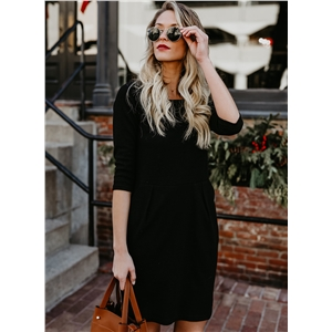 Casual Half Sleeve Dress with Pocket