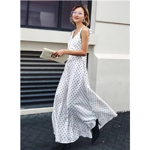 V Neck Sleeveless Polka Dots Maxi Prom Dress