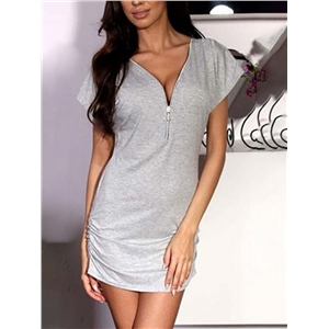 Sexy Shirring Zipper Design Solid T-shirt Dress