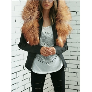 Faux Fur Hooded PU Leather Jacket