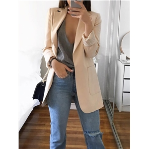Trendy Open Front Pocket Design Blazer