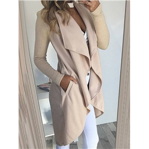 Irregular Trim Pocket Wrap Cardigan Coat