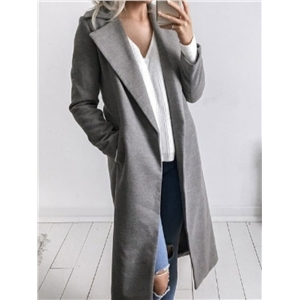 Fashion Solid Lapel Collar Trench Coat - Gray