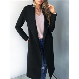 Women Fashion Solid Casual Maxi Coat - Black