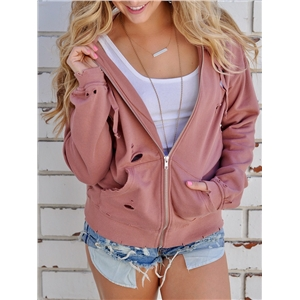 Stylish Holey Hooded Sweatshirt Coat - Pink