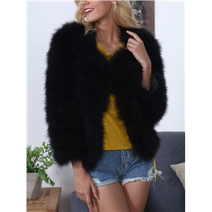 Warm Solid Faux Fur Cropped Coat