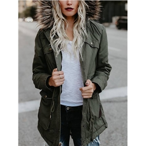 Winter Pocket Faux Fur Hooded Leisure Coat