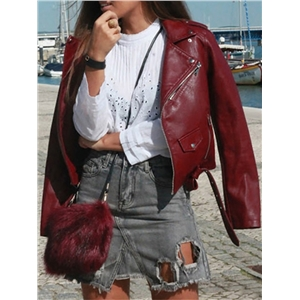 Trendy Zipper Design PU Jacket - Wine Red