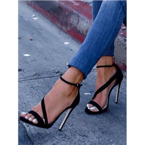 Fashion Solid Color Bandage Thin Heeled Sandals