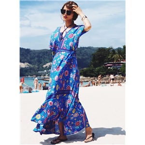V Neck Backless Floral Printed Maxi Dress