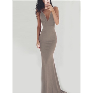V Neck Sleeveless Backless Maxi Prom Dress