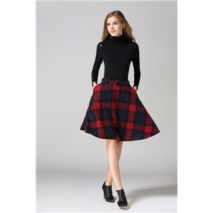 Color-block Plaid Flare Skirt