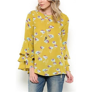Flower Print Tiered Sleeve Blouse