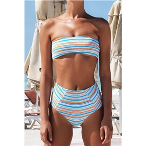 Stripe Print High Waist Two Piece Swimwear