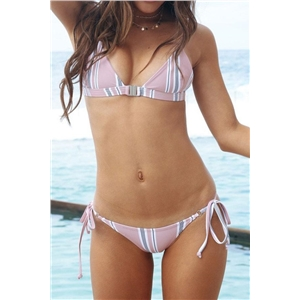 Stripe Print Side Tie Bikini Set