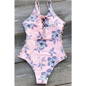 Dream it Possible Lace Up Printed Swimsuit