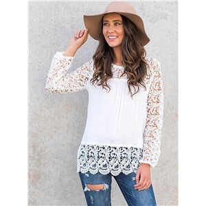 Casual Long Sleeve Lace Blouse