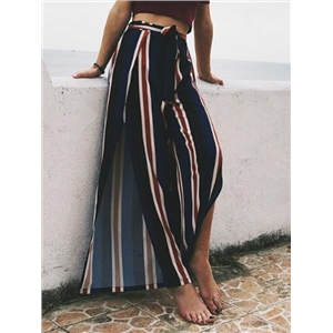 Blue Contrast Stripe High Waist Thigh Split Wide Leg Pants