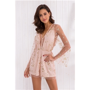 Light Pink Patchwork Grenadine V-neck Backless Sheer Short Romper