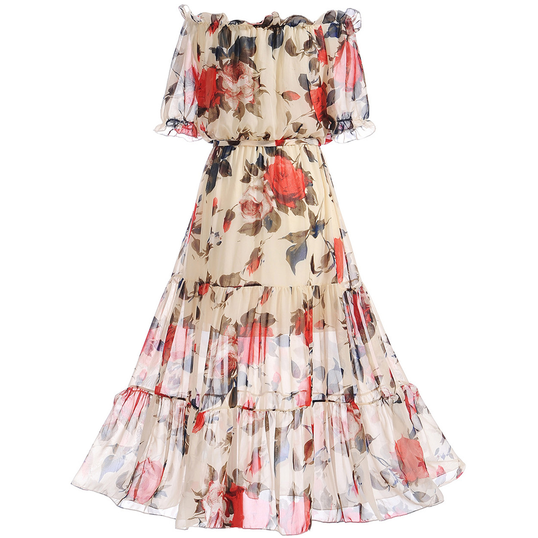 52acdc9aea7f Off Shoulder Floral Hollow Out Ruffled Hem Maxi Dress
