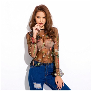 Floral Mesh Embroidered Blouses Women Butterfly Sleeve See through Tops