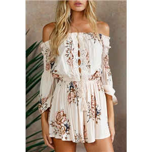 sexy slash neck summer playsuits bohemian style holiday lace bodysuits print short suits