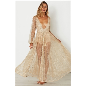 Deep V Neck Sequins See-through Maxi Dress