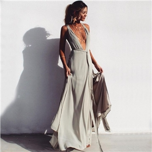 Hot Sexy A-Line Deep V-Neck Chiffon Long Prom Dress Evening Dress