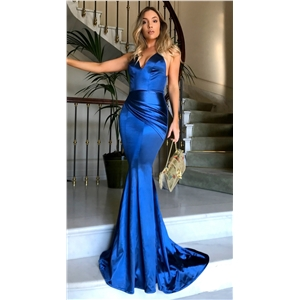 Silk-like Satin V-neck Mermaid Sweep Train Side-Draped Prom Dresses