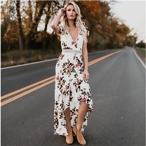Plunging Neck Asymmetrical Open Back Boho Print Dress