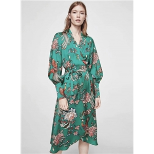 V Neck Long Sleeve Floral Dress with Belt