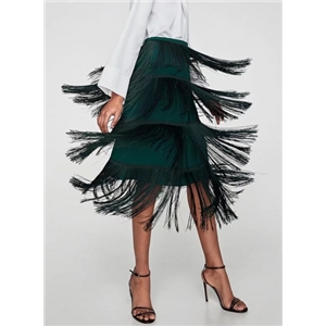 Fashion High Waist Midi Skirt with Tassel