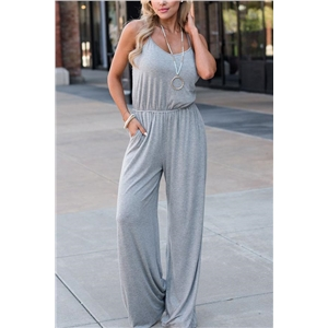 Spaghetti Strap High Waist Grey Jumpsuit