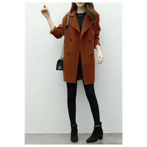 Fashion Loose Double Breasted Solid Coat