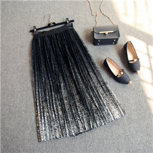 woman bright gold sparkle lace half-length pleated skirt gauze skirt Gradient color