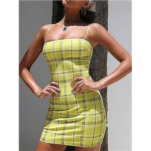 Yellow Plaid Spaghetti Strap Bodycon Mini Dress